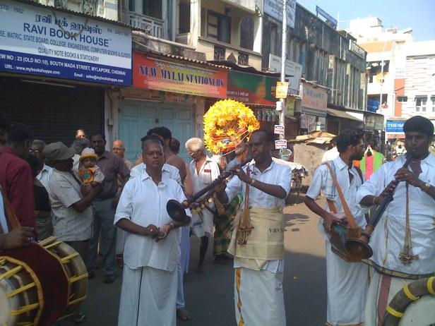 Nagaswaram ensemble during Adhikara Nandi procession