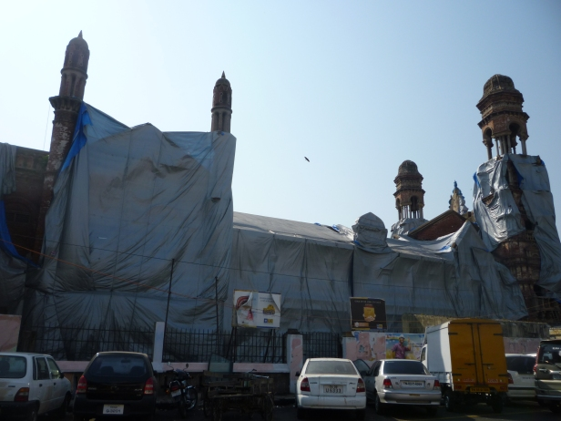Bharat Insurance Building shrouded in plastic