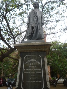 V Krishnaswami Aiyer's statue outside Senate House