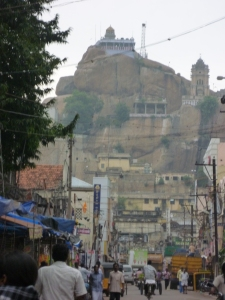 Rock fort, Trichy, seen from Theradi Bazaar