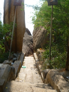 A split rock which houses the Sapta Mata shrine