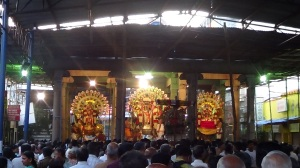 Mylapore, rShabha vAhanam deities at 16 pillared hall