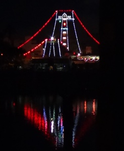 The illuminated raja gopuram, Mylapore temple festival 2014