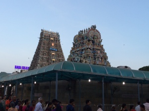 The main gopuram and the Amman vimanam (foreground), Kapali temple