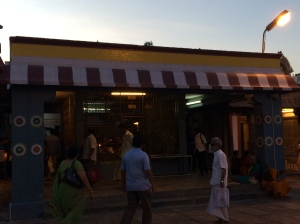 The drab and unimpressive Navagraha shrine in the Kapali temple. Did it replace a shrine to the Sun God?