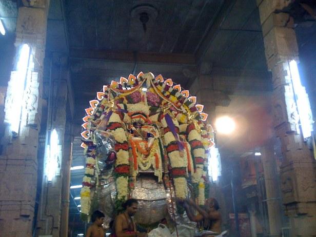 Kapali on the silver vrShabha vAhanam, 5th day procession