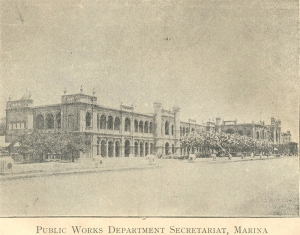 An early photo of the PWD office, Madras
