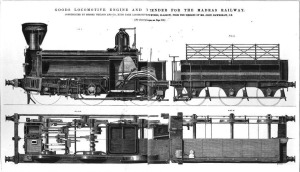 A drawing for a Madras Railway goods engine, dating to 1870
