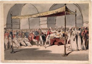 Wellesley being received at Chepauk by Nawab Azim Ud Dowlah, sketch by George Chinnery, courtesy: Wikipedia