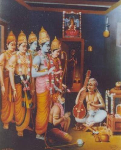 An artiste's impression of Tyagaraja with Rama
