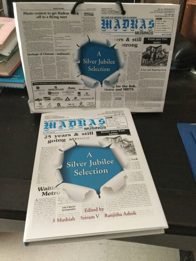 Madras Musings Silver Jubilee book and bag