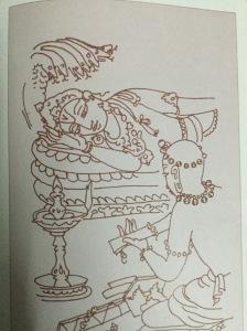S Rajam's sketch of Arunachala Kavi reading his work to Sriranganatha