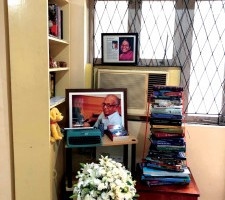 A display of books by S Muthiah